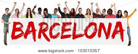Barcelona Group Of Young Multi Ethnic People Holding Banner
