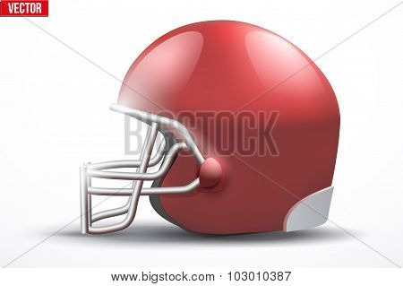 Realistic American football helmet. Side view.