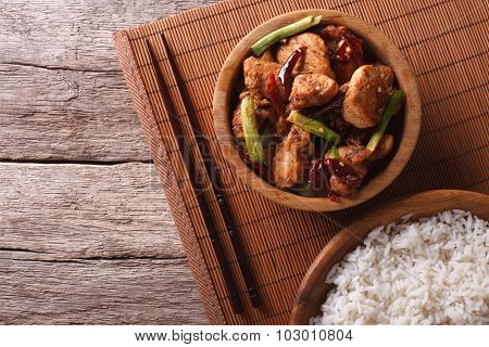 Kung Pao Chicken Fillets In A Bowl. Horizontal Top View