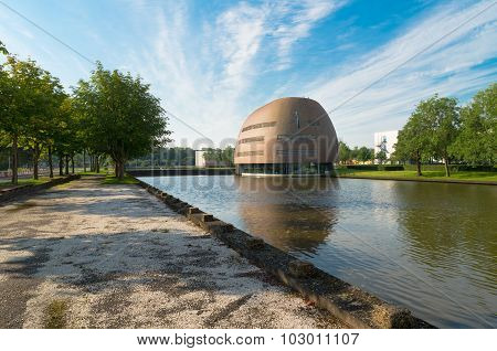 GRONINGEN NETHERLANDS - AUGUST 22 2015: Modern building on the groningen university campus. The university counts around 30000 students and is one of the oldest of the country