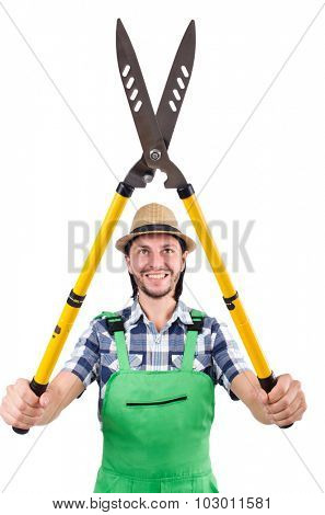 Funny man with shears isolated on white