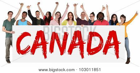Canada Immigration Group Of Young Multi Ethnic People Holding Banner