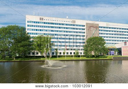 GRONINGEN NETHERLANDS - AUGUST 22 2015: Modern building on the groningen university campus. The university counts around 30000 students and is one of the oldest in the country