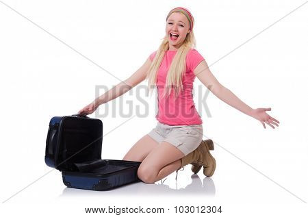Woman with suitcase broken into