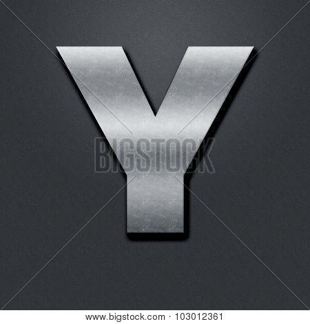Letter Shabby Metal Chromium - Y