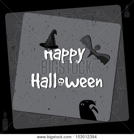 Halloween Poster, Bright Banner, Greeting Card In Grunge Style