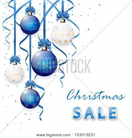 Christmas Sale With Blue Balls