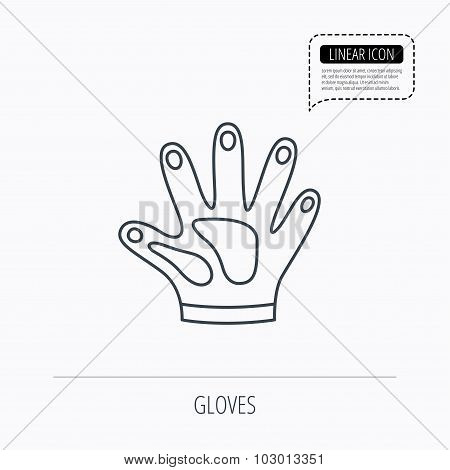 Construction gloves icon. Textile protection.