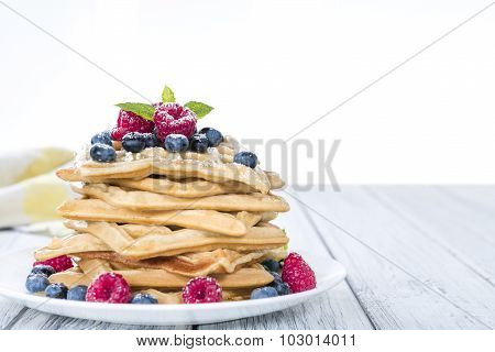 Homemade Waffles With Mixed Berries (white Background)