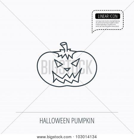 Halloween pumpkin icon. Scary smile sign.