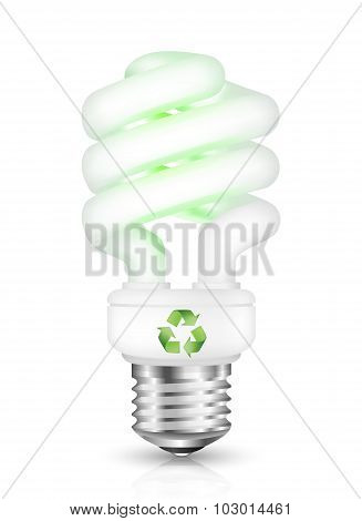 Energy Saving Fluorescent Light Bulb With Recycle Sign. Vector Illustration