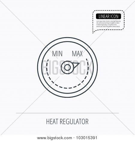 Heat regulator icon. Radiator thermometer sign.