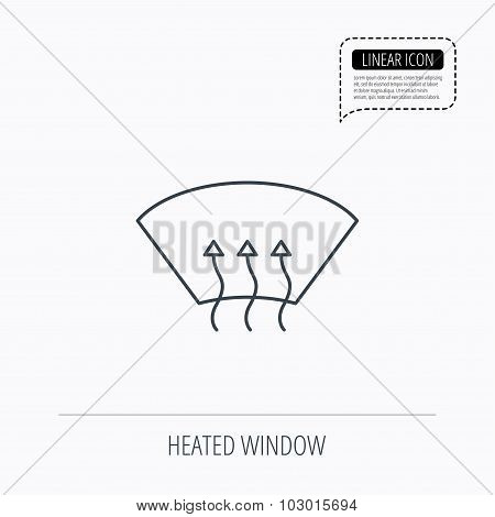 Heated window icon. Windshield arrows sign.