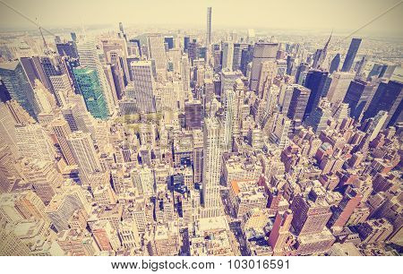 Retro Stylized Aerial View Of Manhattan, New York, Usa.