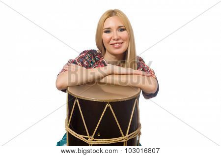 Woman with drum isolated on white