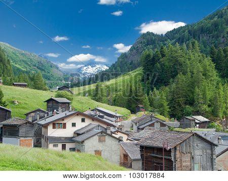 Small Old Village In Switzerland