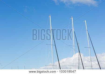 Close Up Of Yacht Mast On Sky Background