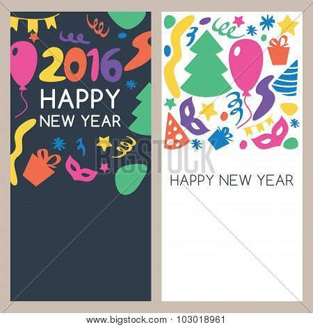 Set Of Vector Multicolor Hand Drawn New Year Greeting Cards.