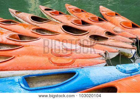 Colorful Kayaks In The Waters Of Halong Bay, Vietnam.