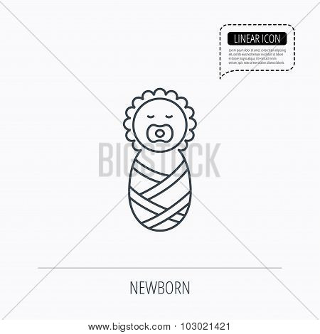 Newborn baby icon. Toddler sign.