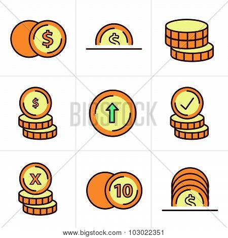 Icons Style  Coins Icons Set, Vector Design Black Color