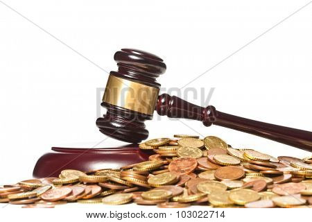 judge gavel and euro coin on white background