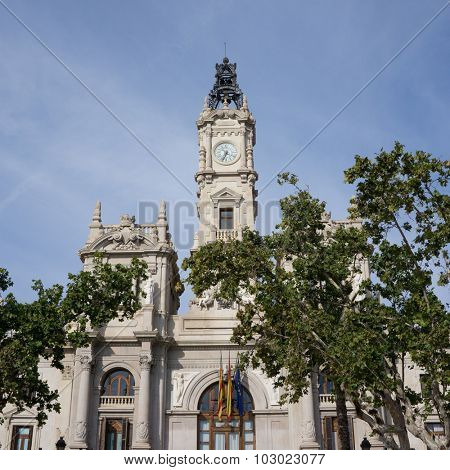 Close up of the City Hall Building of Valencia, Spain.