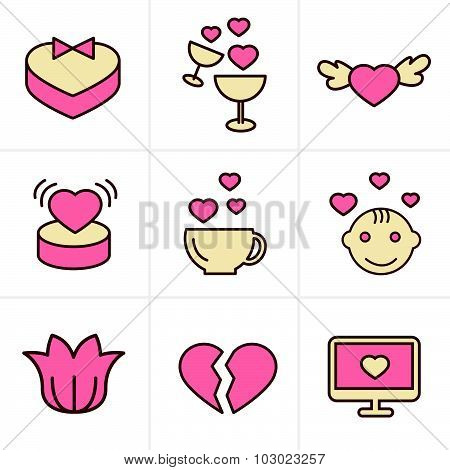 Icons Style Love  Icons Set, Vector Design