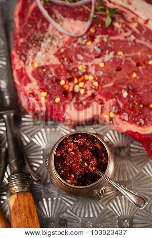Extreme hot asian chillies garlic sauce - Laza or Lazdzhan
