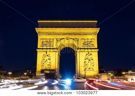 The Triumphal Arch At Night , Paris, France.