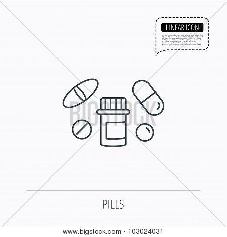 Pills icon. Pharmacy bottle sign.