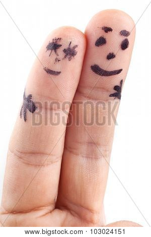 Couple painted on man's fingers isolated on a white background.