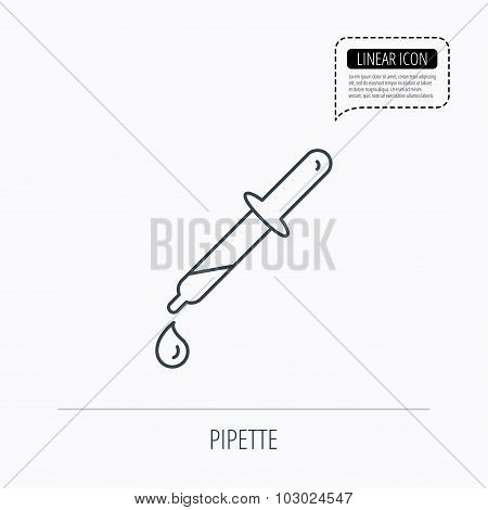 Pipette icon. Laboratory analysis sign.