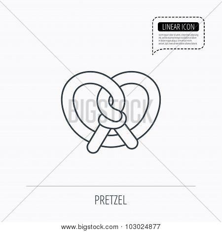 Pretzel icon. Bakery food sign.