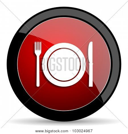 restaurant red circle glossy web icon on white background, round button for internet and mobile app