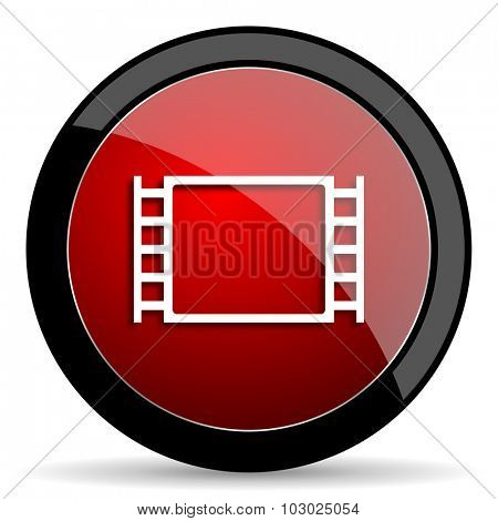 movie red circle glossy web icon on white background, round button for internet and mobile app