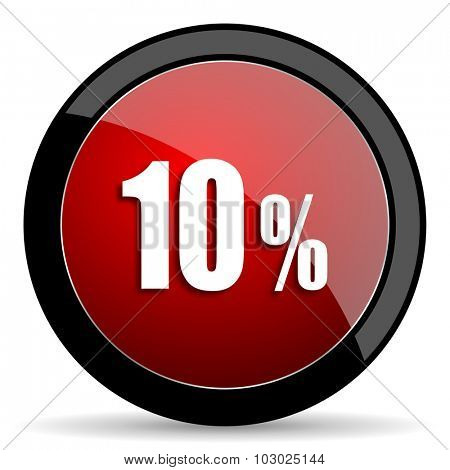 10 percent red circle glossy web icon on white background, round button for internet and mobile app