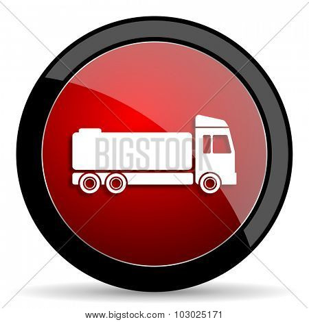 truck red circle glossy web icon on white background, round button for internet and mobile app