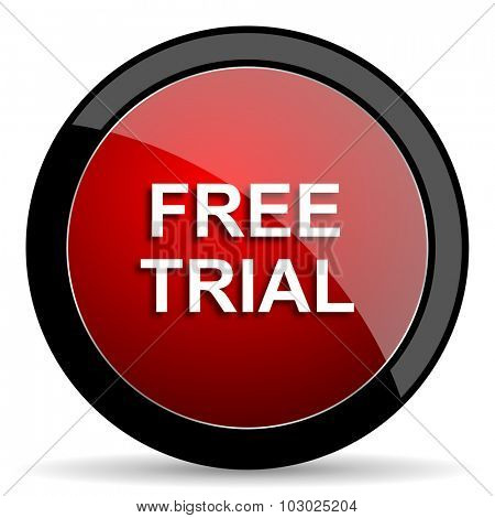 free trial red circle glossy web icon on white background, round button for internet and mobile app