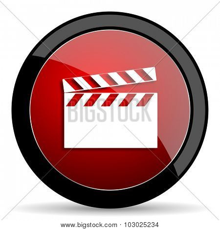 video red circle glossy web icon on white background, round button for internet and mobile app