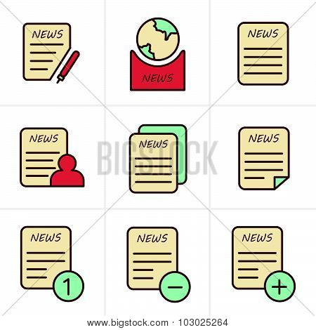 Line Icons Style Newspaper Icons Set