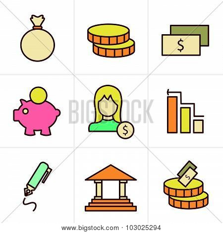 Icons Style Banking Icons