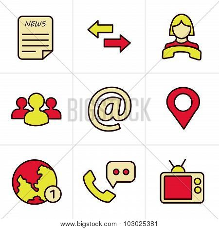 Icons Style Media And Communication Icons