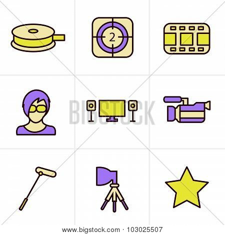 Icons Style Vector Black Movie Icon Set On Gray