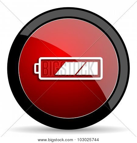 battery red circle glossy web icon on white background, round button for internet and mobile app