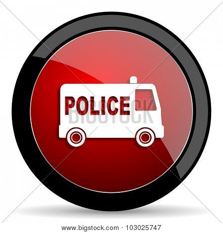 police red circle glossy web icon on white background, round button for internet and mobile app