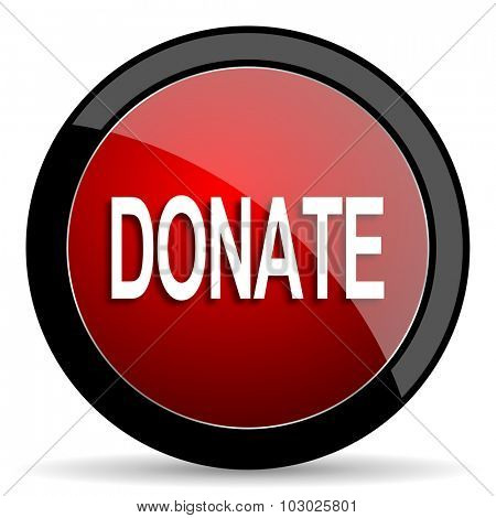 donate red circle glossy web icon on white background, round button for internet and mobile app