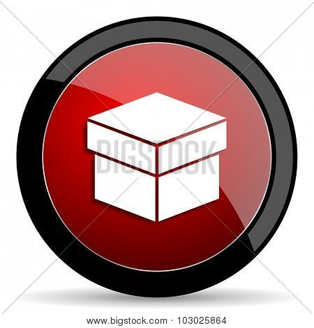 box red circle glossy web icon on white background, round button for internet and mobile app