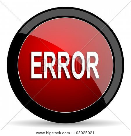 error red circle glossy web icon on white background, round button for internet and mobile app