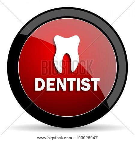 dentist red circle glossy web icon on white background, round button for internet and mobile app
